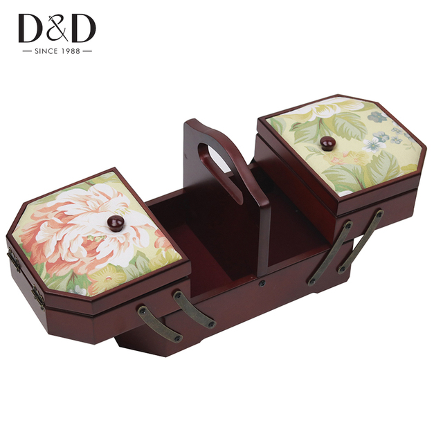 Classical Style Wooden Sewing Folding Box Sewing Storage Box Box