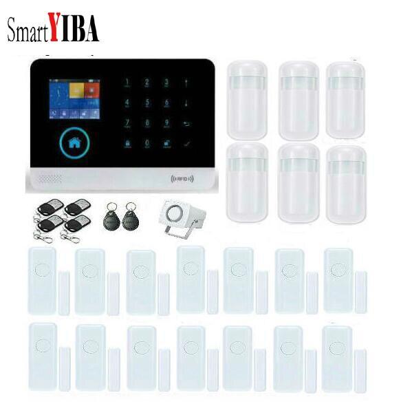 все цены на SmartYIBA WIFI Android ISO App Wireless GSM Alarm System+6pcs Infared Motion PIR+14pcs Door Sensor+4 remotes Alarm Kits онлайн