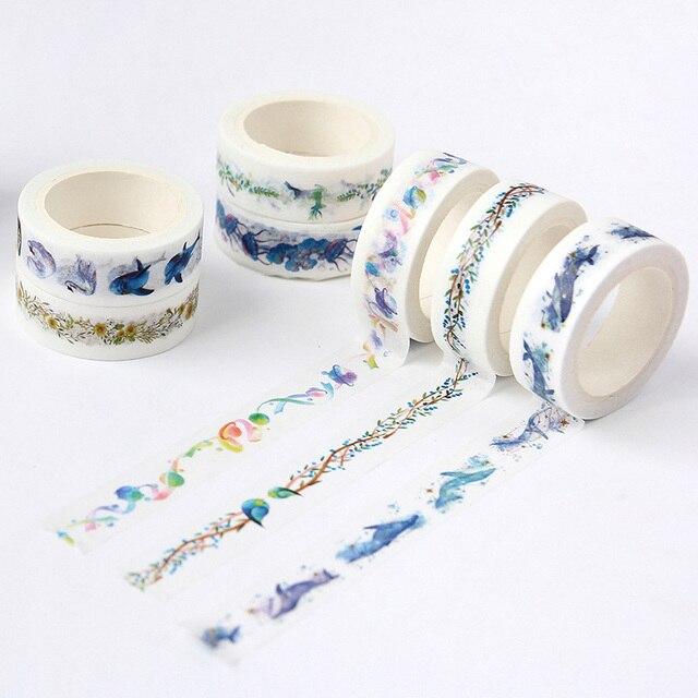 Kawaii mar mundo flor ballena Washi cinta adhesiva decorativa cinta adhesiva pegatina álbum de recortes cinta adhesiva para oficina papelería escolar