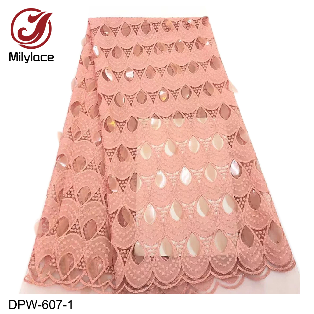 Milylace latest french tulle lace fabric with sequins design nigerian shiny lace fabric fashionable african lace