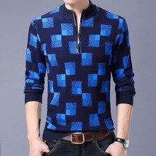 2017 Autumn Winter Wool Turtleneck Sweater Men Casual Computer Knitted Mandarin Collar Zipper Long Sleeve Pullovers Male