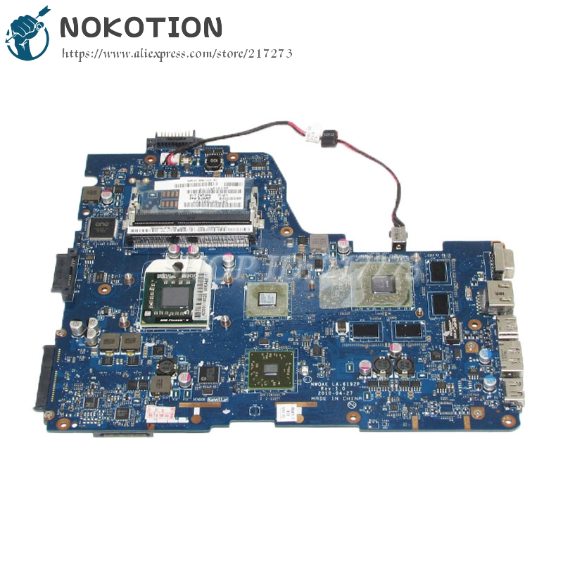 NOKOTION For Toshiba Satellite A665D Laptop Motherboard NMQAE LA-6192P K000108490 Socket s1 Free CPU HD5650M graphics nokotion a000174120 daby3cmb8e0 for toshiba satellite l840 laptop motherboard rev e intel hm70 ddr3 socket pga989