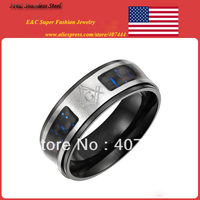 Cheap Price Promotion! Free Shipping! 8mm Men's Stainless Steel Masonic Ring With Freemason Design Blue&Black Fiber Inalyed