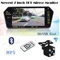 2.4G Sem Fio Do Carro 7 Tela Da Polegada TFT LCD Bluetooth MP5 espelho do monitor USB/SD slot e Auto Retrovisor backup câmera de Estacionamento cam
