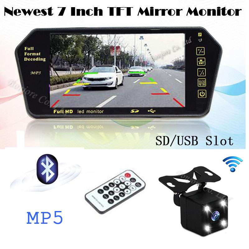 2.4G Wireless Car 7 Inch TFT LCD Screen Bluetooth MP5 Mirror monitor USB/SD slot and Auto Rearview backup camera Parking cam