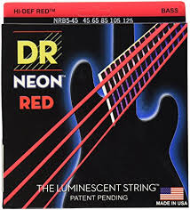 DR K3 Hi-def Neon Red Luminescent Bass Guitar Strings, Light 40-100 or Medium 45-105 or 5-strings 45-125