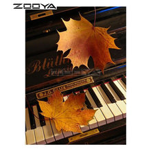 ZOOYA 5D DIY Diamond Maple Leaf Piano Key Landscape Diamond Painting Cross Stitch Square Drill Mosaic Decoration BK1085(China)
