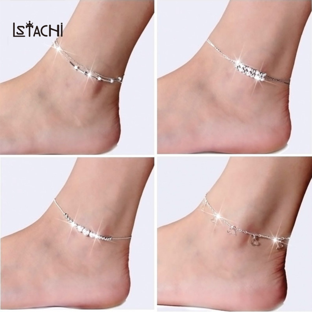 LSTACHi Silver Fashion DIY Anklets for Women Girl Bohemian Friendship Anklet Handmade Bracelet Barefoot Party Jewelry Gift