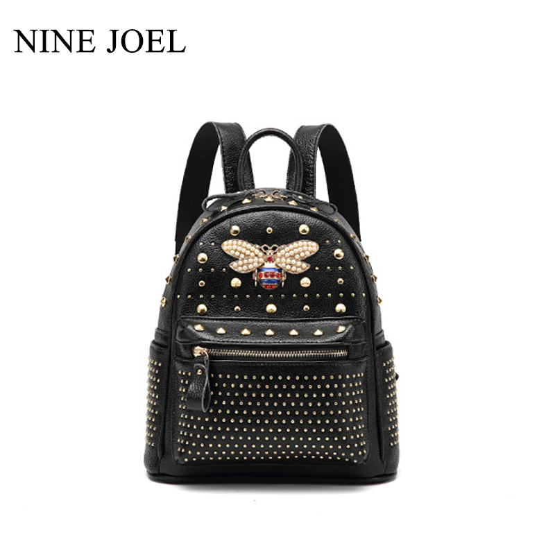 Fashion Genuine Leather Shoulder Bag Backpack 2018 New Rivets Backpack Fashion Multi-Functional European And American Women creative new brand women retro genuine leather shoulder bag european and american style woman bag postman package with rivets