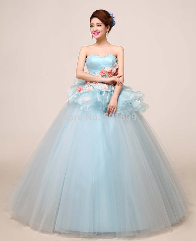 floral light blue ruffled embroidery ball gown Medieval dress ...