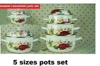 free shipping 10pcs enamel cooking pots set casserole stew pot soup pot milk pot 16/18/20/22/24cm