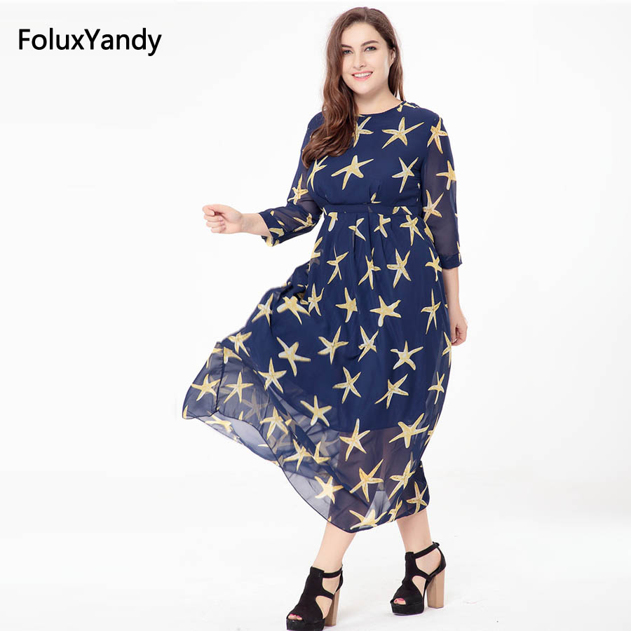 Stars Print Long Dress Women Plus Size 3 4 5 6 XL New Summer Style Three Quarter Sleeve A-line Chiffon Drss Vestidos SQN13 ...