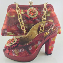 High Quality Matching Italian Shoes And Bag Set With Rhinestone African Pumps Shoes Wedding Shoes With Bag Set ME6605