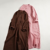 Spring Autumn Women Loose Solid Casual Stand Collar Linen Dresses