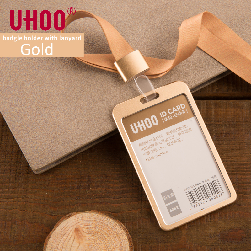 UHOO 6042 Aluminium Alloy Vertical ID Card Holder With Lanyard Gold Silver Card Holder Name Tag Badge Holder Office Supplies