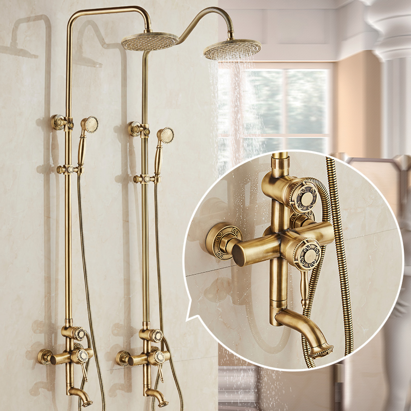 Shower Faucets Antique Bronze Wall Mounted Brass Rainfall Shower Sets Faucet Mixer Tap Cold and Hot Shower Set Crane 10135