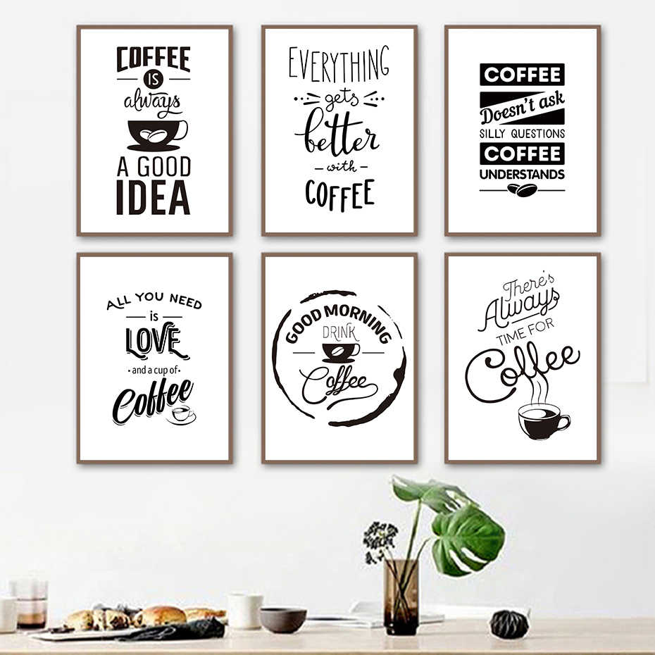 Special Coffee Life Draw&Quote Wall Art Black&White Painting Canvas Pictures Vintage Poster Nordic Prints Living Room Home Decor