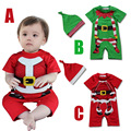 Retail Cute infant cotton Christmas gift overalls caps fashion baby boys girls short sleeve xmas rompers kids romper + hat 2pcs