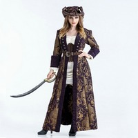 Free shipping Women 2018 Halloween Adult dance role play cos women's medieval Caribbean Pirate Captain cosplay Costume