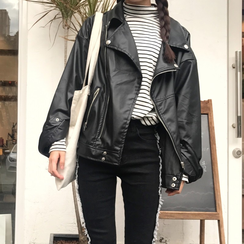 Leather   Jacket 2018 Women's New Year Design PU   Leather   Jacket Soft   Leather   Coat Slim Lapel Motorcycle Jacket Black