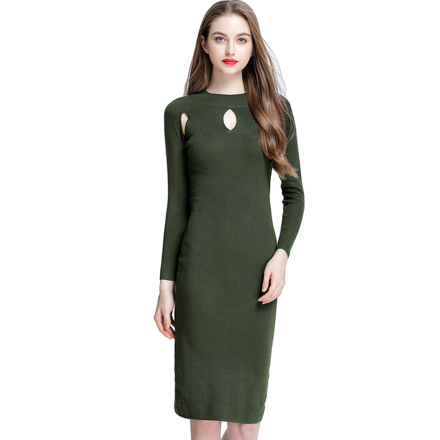 Women Autumn Sexy Cutout Slim Sweater Dress Solid Color Elegant Bodycon  Knitting Dress Casual Knitted Dress bf41a0c9158a