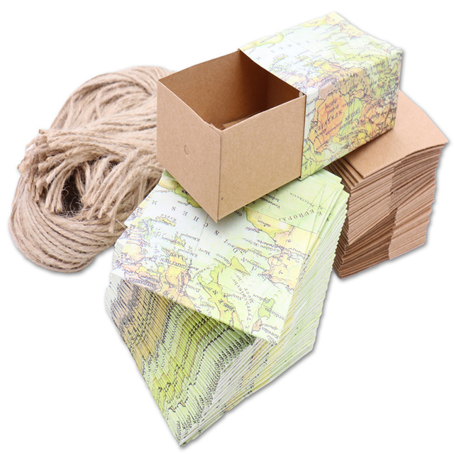 50pcs wedding candy box novelty world map kraft gift box with burlap 50pcs wedding candy box novelty world map kraft gift box with burlap twine wedding favors and gumiabroncs Image collections