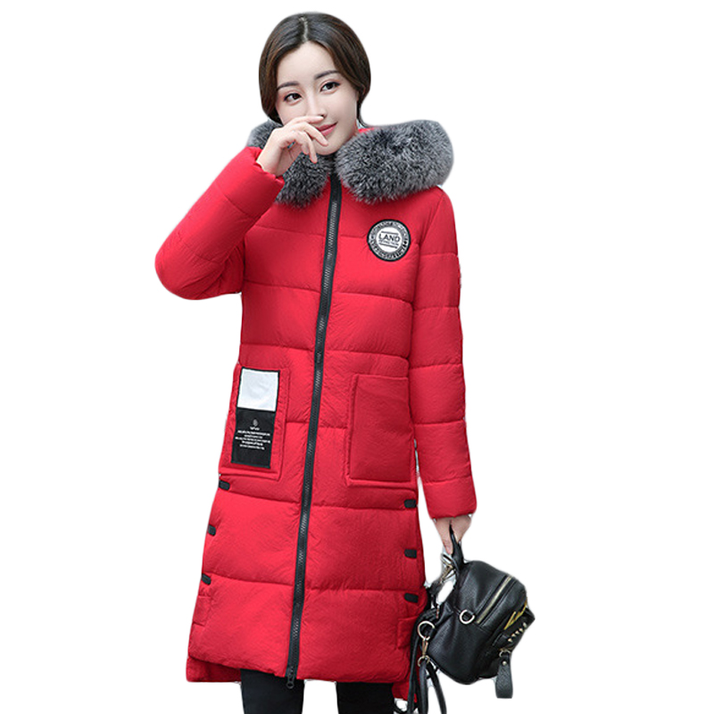 2017 New Fashion Winter Jacket Women Long Slim Large Fur Collar Warm Hooded Down Cotton Parkas Thick Female Wadded Coat CM1682 2017 winter new coat womens long slim hooded large fur collar thick cotton warm jacket for female zipper pattern epaulet padded