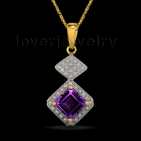 New Fashion Lady Princess Purple Amethyst Pendant With Natural Diamond In 14Kt Solid Gold 7x7mm ESR012