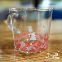 300ml Japan Style Sakura Pure Borosilicate Glass Cup Cat Rabbit Deer Printed for Coffee Milk Juice Mug Drinkware Creative Gifts