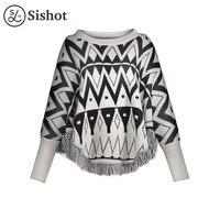 Sishot Women Casual Knitwear 2017 Autumn Winter Black Geometric Tassel O Neck Batwing Sleeve Loose Patchwork