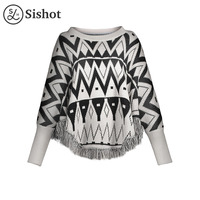 Sishot Women Casual Knitwear 2017 Autumn Winter Black Geometric Tassel O Neck Batwing Sleeve Loose Patchwork