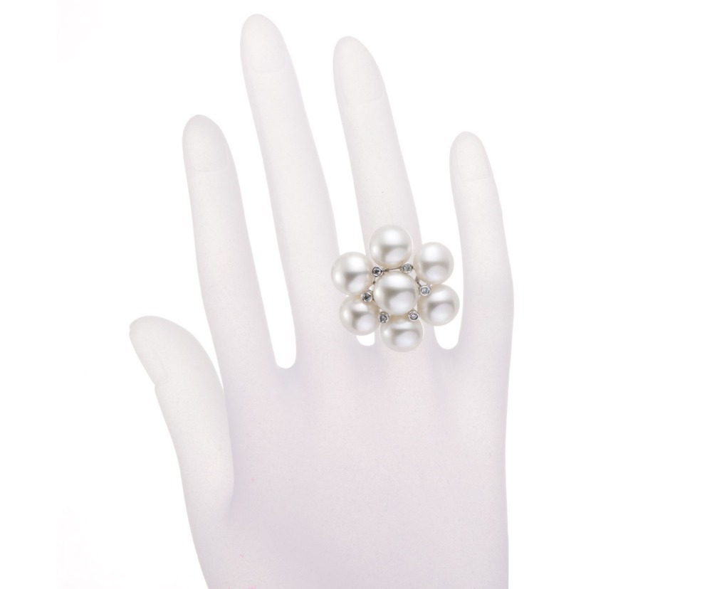 Hutang 100% Natural Freshwater Pearl Wedding Ring White Topaz Solid Sterling Silver 925 Fine Pearl Jewelry for Women (9mm) Gift