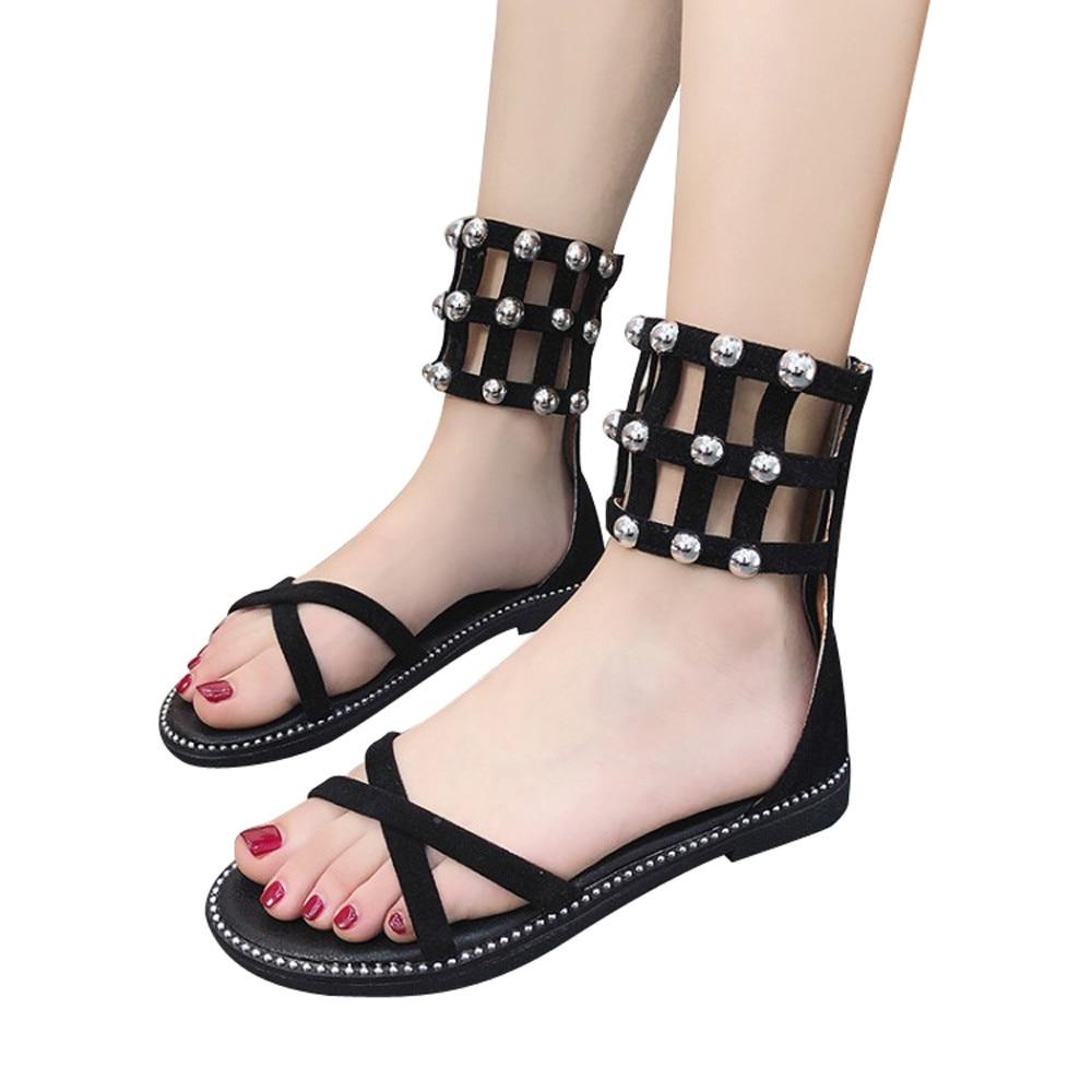 SAGACE 2018 New Arrival Women's Vintage Flat GaoBang Rivets Open Toe Zipper Beach Shoes Girls Roman Outdoor Sandals Size 35- 40