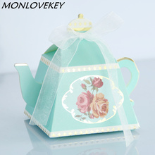 Creative Teapot Style Candy Box With Ribbon Gift Cake Candies Packaging Boxes For Wedding Baby Shower Souvenirs Birthday Favors