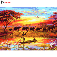 Huacan Diamond Painting Africa Animal DIY Diamond Embroidery 5D Square Mosaic Full Pictures By Numbers Rhinestones
