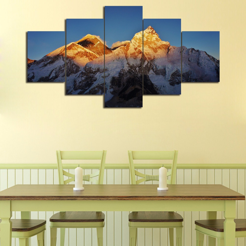 HJIAART 5 Pieces Canvas Painting Snow Mountain Painting Home Decor ...