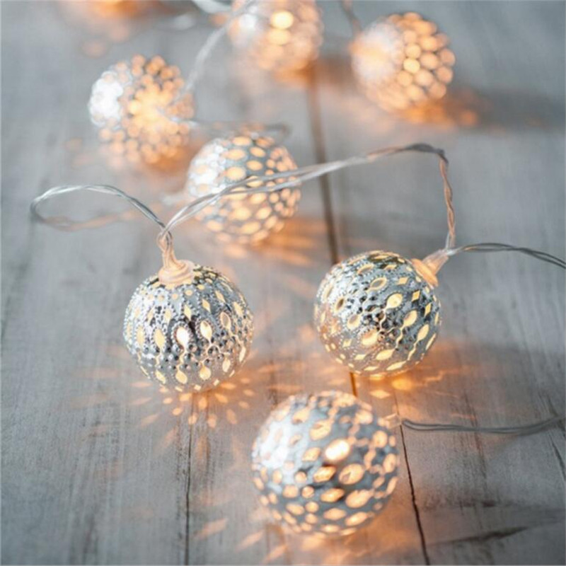 With Bells Warm White 5M 28led Fairy String Light Round Silver Iron Ball Decorative Rope For Indoor Outdoor
