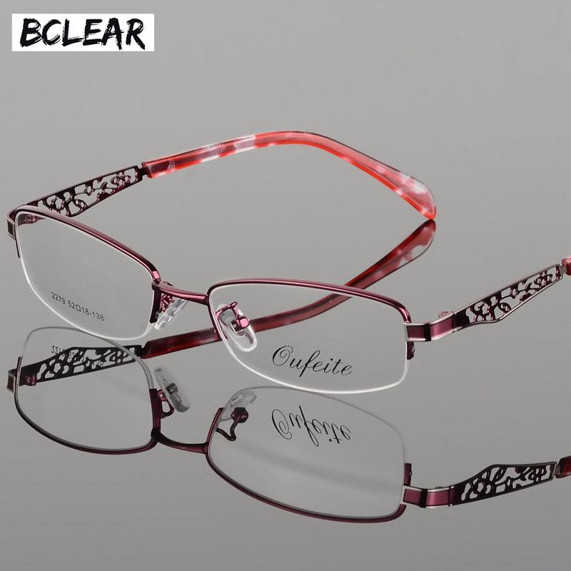 BCLEAR Optical Glasses Frame Half Rim Eyeglasses Myopia Frames Women Clear Transparent Glasses Women's Hollow Flower Frames