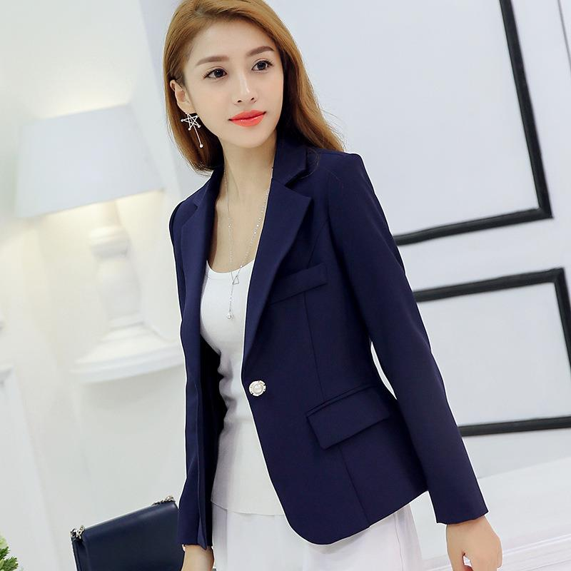 Women Office Formal Blazers and Jacket Autumn Spring Long Sleeve Singal Button Slim Coat Blue/Red/Gray Soli Color Work Outwear