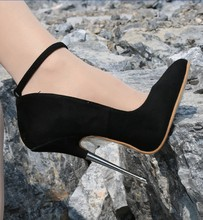 New Suede Womens Pumps 16cm Metal Steel Heel Ankle Strap Heels Shoes Black Large Size S44