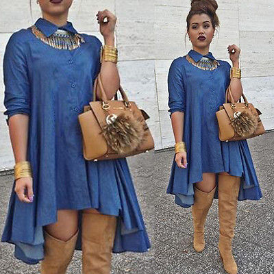 2016 Irregular Hem Denim Dress Long Sleeve Loose New Y Casual In Dresses From Women S Clothing Accessories On Aliexpress Alibaba