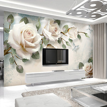 купить Custom Any Size Mural Wallpaper European Style White Flowers Oil Painting Wallcloth Bedroom Living Room Background Wall Covering дешево