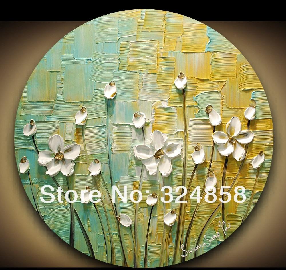 Abstract Art Impasto Green Yellow White Blossom Modern Palette Knife Framed Oil Painting On