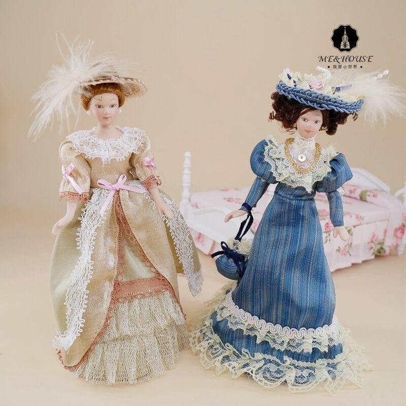 Miniature Lady Mini Dolls Dollhouse Porcelain Decoration Mini Dollshouse Small Court Draft Accessories