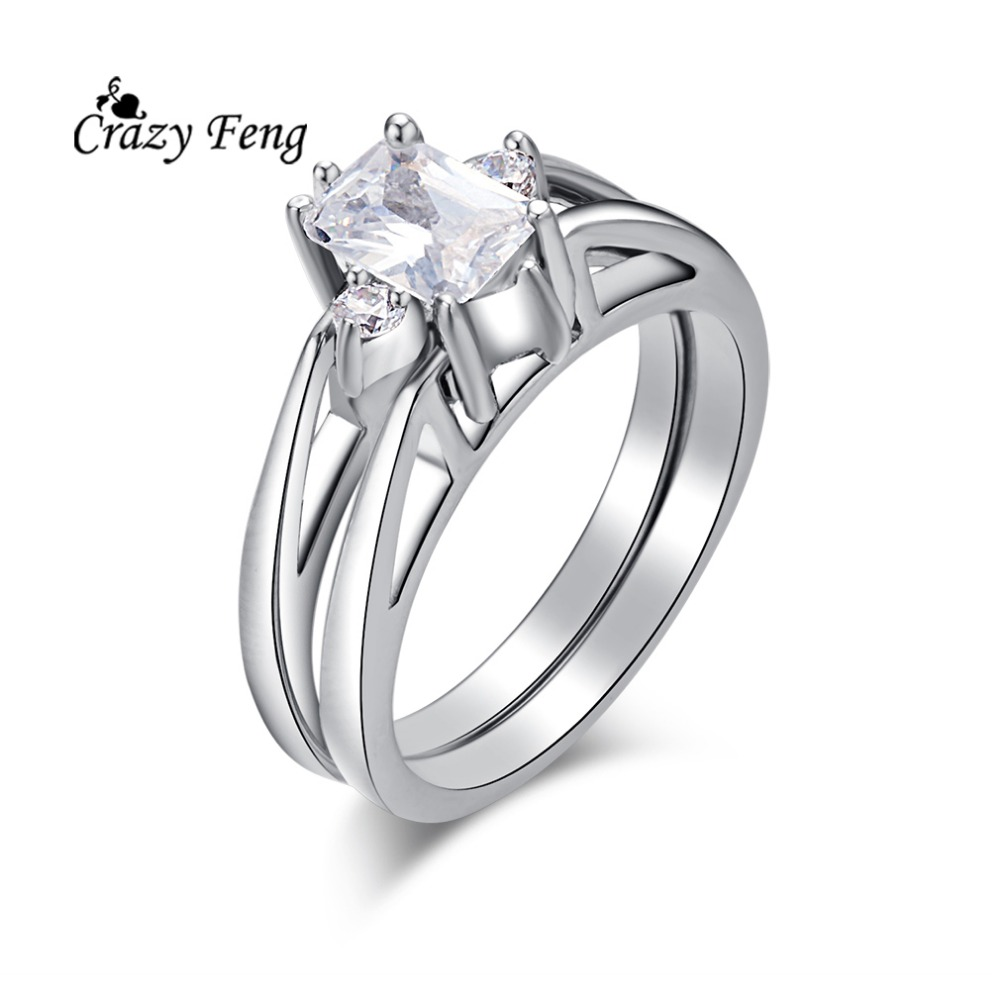 New Trendy Silver-color CZ Crystal Flower Jewelry Double Circle Unique Design Wedding Rings For Women Fashion Jewelry Rings