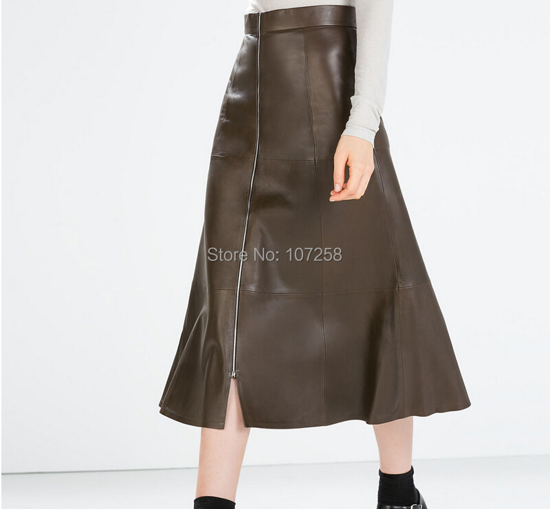 high quality pu leather pleated skirt zippered stretchy