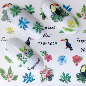 LCJ 1sheets New Nail Art Stickers Letters/Crows/Leaves/Colored Flowers Water Transfer Wraps Foils Patch Decorations Tools image
