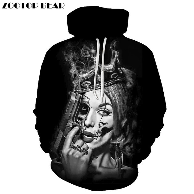 Beauty Skull Hoodies Sweatshirts 3d Hoodies Men Women Tracksuits Hooded Pullover Autumn Coat Hip Hop Hoody Drop Ship ZOOTOPBEAR