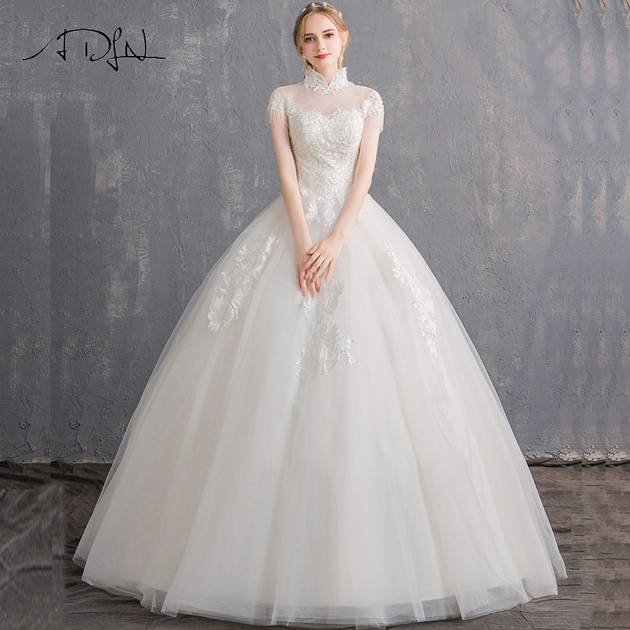 ADLN Elegant High Neck Ball Gown Wedding Dresses Short