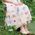 ЛИНЕТТ CHINOISERIE Лето Оригинальный Дизайн Высокого Качества Женщин Бабочка Печати Бамбук Сверхбольших Подол Мори Девушки Шифон Юбка